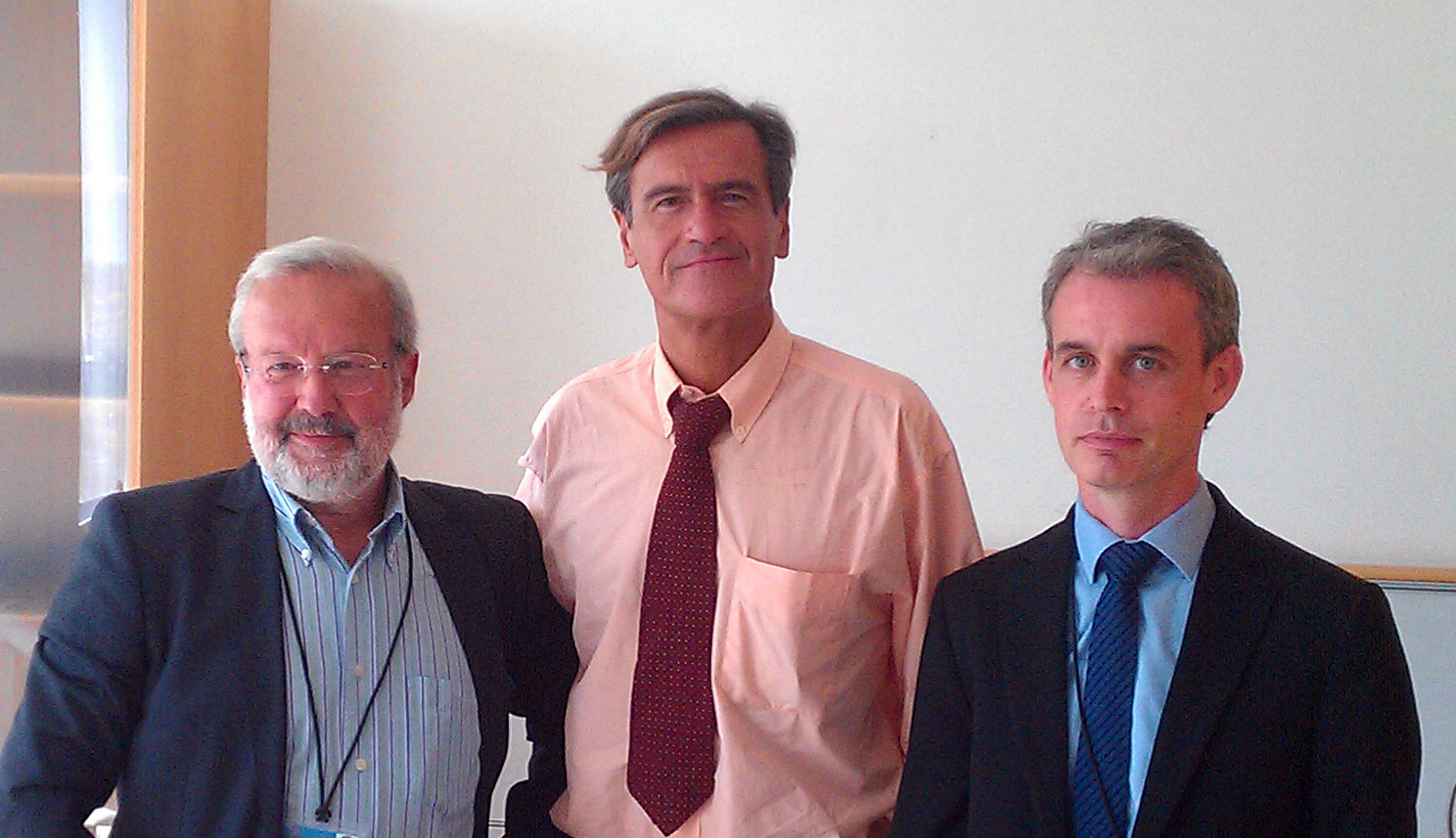 Emilio De Capitani (left) and Joe McNamee (right) with Civil Liberties Committee President Juan Fernando López Aguilar after their meeting on upcoming Parliament work on mass surveillance of EU citizens.