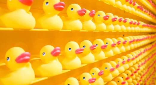 An image of rubber ducks