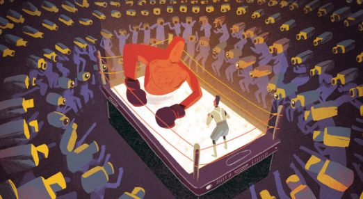 The image shows a big red creature as a boxer and a small human being against it. Both are standing on a smartphone which represents the fighting ring. They are surrounded by an audience whose heads are replaced by CCTV cameras.