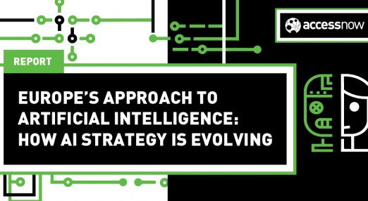 "The image shows the title of the report ""Europe's Approach to Artificial Intelligence: How AI Strategy is Evolving""."