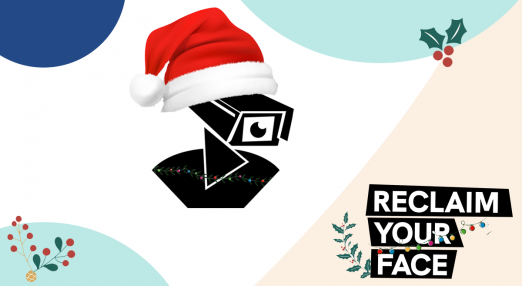 The image shows Reclaim Your Face logo with Christmas motives like fairy lights, Christmas hat and winter tree branches.