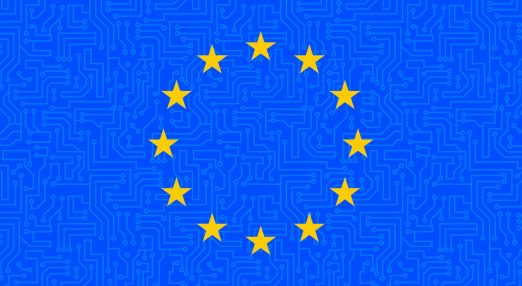 The image shows a blue cyber background with the EU starts in the middle.