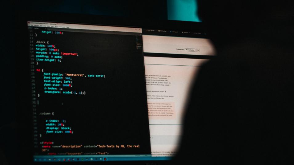 Computer showing programming code