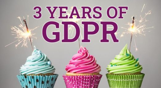 3 years of GDPR. An image of cupcakes with candles.