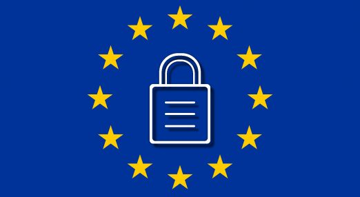 A lock positioned in the middle of the EU's flag.