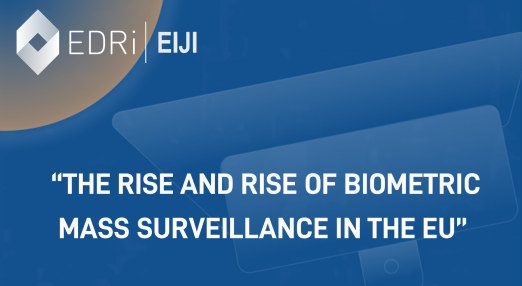 """A CCTV camera with a sign reading """"The Rise and rise of biometric mass surveillance in the EU"""""""